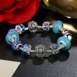 Antike Charme-Armband u. Krone blaue Murano Raupe-Charme-Armband-Schmucksachen