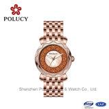 Relógio de senhoras genuíno da cinta de couro da moda magro da forma do aço inoxidável