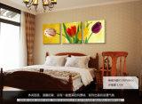 L'arte moderna della parete delle 3 parti ha stampato i tulipani della pittura che verniciano la maschera di arte incorniciata decorazione della stanza verniciata sulla decorazione Mc-235 della casa della tela di canapa