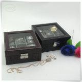 Suporte luxuoso Handmade de couro da caixa de relógio de Mens do plutônio