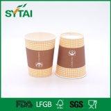 Устранимый горячий с бумажными стаканчиками подгонянными крышкой одностеночными напечатанными