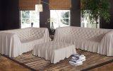 رفاهية بيضاء لون دار ثوب أريكة