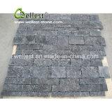 Azulejo de la fractura natural esquina negros/amarillentos/blancos/azules del modelo de la pared de la piedra caliza y