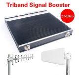 aumentador de presión del repetidor del G/M de la venda de la señal GSM900+Dcs1800+WCDMA2100 del teléfono celular 27dBm tri