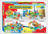 Установленная поездами игрушка игр блоков
