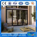 Prix en aluminium de portes de balcon glissant les portes résidentielles en aluminium de porte en aluminium en verre givré