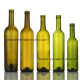 Verde, bottiglia di vetro del Bordeaux della parte superiore del sughero del silice