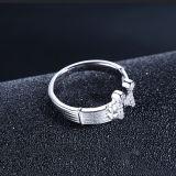 Apertura encantadora delicada de moda CZ embutida anillo del símbolo de música de las mujeres