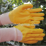 半分はニトリルの手袋黄色いカラー産業作業手袋を浸した