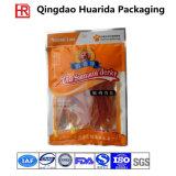 Un alimento per animali domestici delle tre guarnizioni che impacca il sacchetto di plastica della chiusura lampo del di alluminio