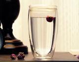tasse en verre fabriquée à la main en verre de mur de double de cuvette du double mur 450ml
