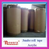 Cinta adhesiva hecha material de acrílico del lacre de la película de BOPP rodillo enorme para el corte de la fábrica