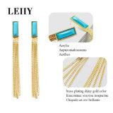 女性の長い真鍮のめっきの光沢がある金カラーのための3つのカラー長方形のアクリルの低下イヤリング