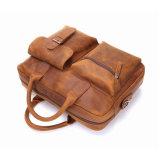 Cartella del sacchetto del computer portatile del Tote del cuoio di stile dell'annata di alta qualità