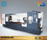 Torno horizontal do CNC da base lisa
