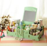 De creatieve Houten het Glimlachen DIY Doos van de Opslag van de Desktop van het Gezicht, de Kosmetische Doos van de Opslag met Spiegel