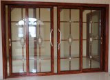 Puerta deslizante residencial del perfil de aluminio termal de la rotura con la parrilla