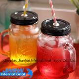 Choc en verre coloré pour la boisson avec les couvercles et la paille