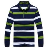 OEMの方法人の長い袖のしまのある綿のポロシャツ