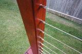 Inferriata del cavo dell'acciaio inossidabile di DIY/balaustra del cavo acciaio inossidabile per il balcone con l'alberino di legno