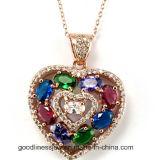 Pendente della CZ dell'argento sterlina, monili Pendant P4971 di modo Pendant di figura del cuore