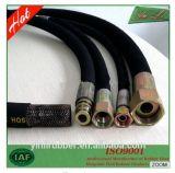 SAE100 R1 a enveloppé le boyau hydraulique tressé par fil de couverture