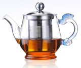Mode Design avec Stainless Steel Filter et Handle Borosilicate 400ml Glass Tea Pot