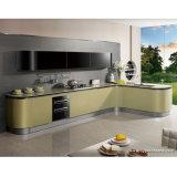 Armário de cozinha acrílico verde-oliva clássico da madeira compensada de Guangzhou (OP13-076)
