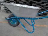 Galvanziedの皿が付いている一輪車の手押し車Wb5205