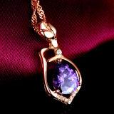 Collana Pendant Amethyst naturale dell'argento sterlina delle donne 925 con la catena