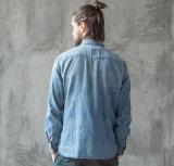 كلاسيكيّة [إيوروبن] نابض فصل خريف كم طويلة رجال زرقاء [جن] قميص