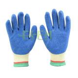 Le coton de décolorant de 10 mesures/le caoutchouc bleu doublure de polyester a enduit sur le gant de travail de paume