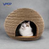 Ovalgeschnittene Wellpappe Handamde Katze Scratcher Katze-Häuser