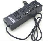 온/오프 스위치를 가진 고속 USB 2.0 허브 4 포트