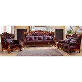 Sofà di cuoio con il blocco per grafici del sofà e la Tabella di legno (D99)