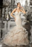 Laço bordado 2017 Appliqué S e cristal que perlam os vestidos de casamento nupciais mm002