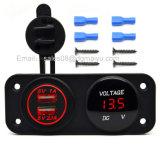 Adaptateur duel de chargeur de véhicule du véhicule imperméable à l'eau USB de la moto 12~24V + voltmètre rouge de DEL