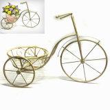 Metallgarten-Dekoration-Weinlese-Dreirad formte Flowerpot-Standplatz-Fertigkeit