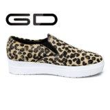 Madame occasionnelle Flat Shoes de mode de cuir de cheveu de cheval d'impression de léopard
