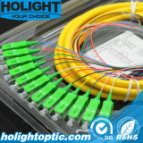 Jaune de tresse de fibre optique de Sc RPA de 12 faisceaux