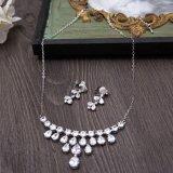 Conjunto cristalino de plata nupcial Wedding del collar del Rhinestone