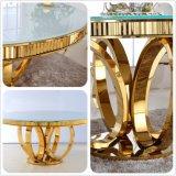 Tabella pranzante Sj913 stabilito della mobilia domestica rotonda di marmo della Tabella pranzante di Foshan dell'oro