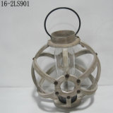 Shabby Antique with Metal Circle Rings of Wooden Lanterns