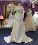 Платье венчания втулки сатинировки короткое с смычком назад