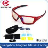 Lunetterie matérielle de Sun de sport de fonction de bâti populaire multi de PC avec les lunettes de soleil changeables de lentille réglées