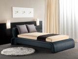 現代デザイン古典的な木の黒い革ベッド