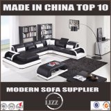 Sofa réglé de cuir de divan de forme du modèle moderne U de meubles de salle de séjour
