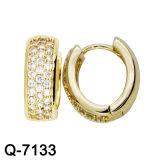 CZ 귀걸이의 둘레에 도금되는 형식 보석 925 은 14 금