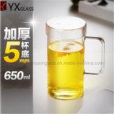 650ml le alte tazze di vetro a parete semplice della birra del tè di vetro di Borosilicate con la tazza di vetro del limone del caffè del latte spremuta di Drinkware/della maniglia foggiano a coppa