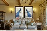 Pintura al óleo enmarcada pared moderna hecha a mano de la lona del pavo real